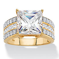 4.21 TCW Princess-Cut Cubic Zirconia Multi-Row Bridal Engagement Ring in 18k Gold over Sterling Silver