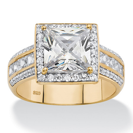 3.06 TCW Princess-Cut Cubic Zirconia Multi-Row Halo Engagement Ring in 18k Gold over Sterling Silver at PalmBeach Jewelry
