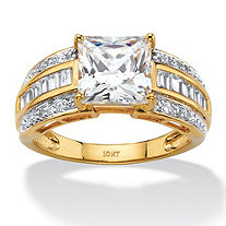 2.83 TCW Princess-Cut and Baguette Cubic Zirconia Multi-Row Engagement Ring in 10k Yellow Gold