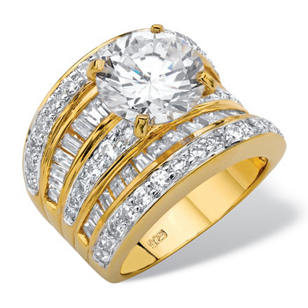 7.14 TCW Round Cubic Zirconia Multi-Row Scoop Engagement Ring in 14k Gold over Sterling Silver at PalmBeach Jewelry