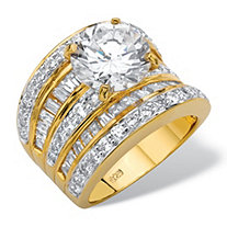 Round Cubic Zirconia Multi-Row Scoop Engagement Ring 7.14 TCW in 14k Gold over Sterling Silver