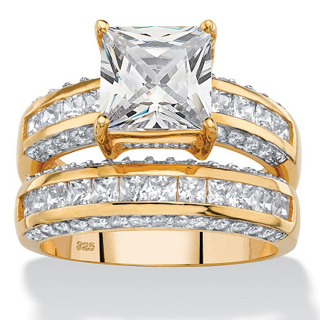 3.32 TCW Princess-Cut Cubic Zirconia 2-Piece Channel-Set Bridal Ring Set in 14k Gold over Sterling Silver at PalmBeach Jewelry