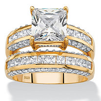 3.32 TCW Princess-Cut Cubic Zirconia 2-Piece Channel-Set Bridal Ring Set in 14k Gold over Sterling Silver