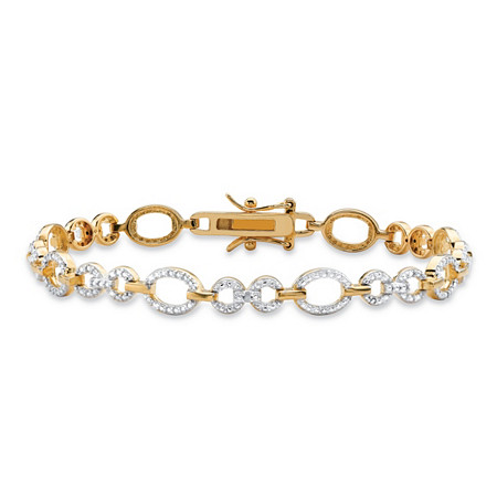 White Diamond Accent Oval and Round Interlocking-Link Two-Tone Bracelet 14k Gold-Plated 7.25