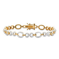 SETA JEWELRY White Diamond Accent Oval and Round Interlocking-Link Two-Tone Bracelet 14k Gold-Plated 7.25