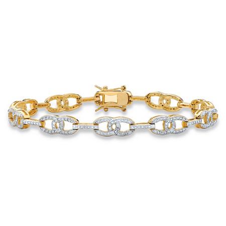 Designer-Inspired White Diamond Accent Two-Tone Interlocking Oval-Link Tennis Bracelet 14k Gold-Plated 7.5