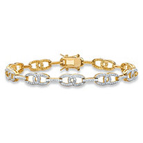 Designer-Inspired White Diamond Accent Two-Tone Interlocking Oval-Link Tennis Bracelet 14k Gold-Plated 7.5