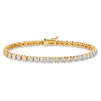 Round White Diamond Accent Two-Tone S-Link Tennis Bracelet ONLY $27.50