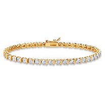 Round White Diamond Accent Two-Tone S-Link Tennis Bracelet 14k Gold-Plated 7.25""