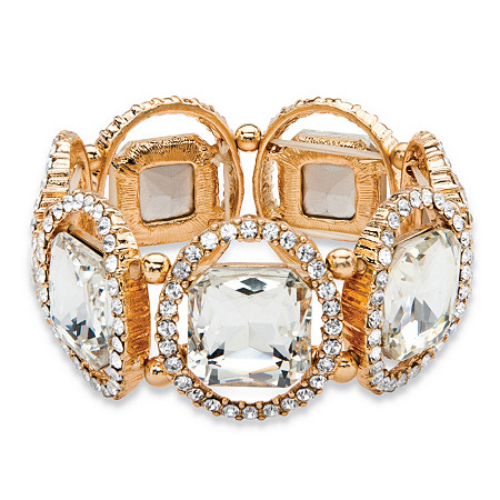 Cushion-Cut and Round White Crystal Halo Stretch Bracelet in Gold Tone 8