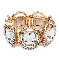 Cushion-Cut and Round White Crystal Halo Stretch Bracelet in Gold Tone 8""