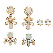 Trilliant-Cut and Round Aurora Borealis Simulated Crystal 3-Pair Stud, 2-in-1 Jacket and Chandelier Earrings Set in Gold Tone