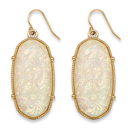 Oval-Cut Aurora Borealis Simulated Opal Drop Earrings in Gold Tone 1