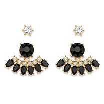 Round Black and White Crystal 2-Pair Stud and 2-in-1 Ear Jacket Drop Earrings Set in Gold Tone