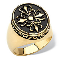 Men's Two-Tone Signet-Style Cross Ring in Enamel and Gold Ion-Plated Stainless Steel