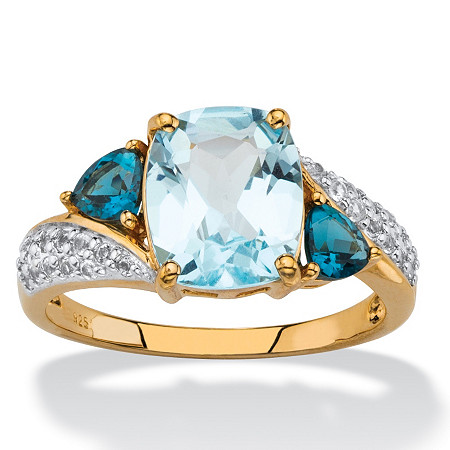 4.06 TCW Cushion-Cut Genuine Blue Topaz and Cubic Zirconia Accent Ring in 18k Gold over Sterling Silver at PalmBeach Jewelry