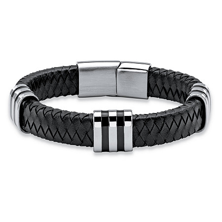 Men's Black Woven Genuine Leather Bracelet with Magnetic Closure in Stainless Steel 8.5