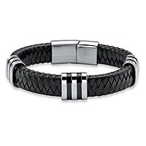 Men's Black Woven Genuine Leather Bracelet with Magnetic Closure in Stainless Steel 8.5""