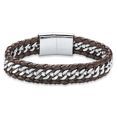 Men's Brown Genuine Leather Braided Bracelet with Magnetic Closure in Stainless Steel 8.5