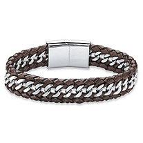 Men's Brown Genuine Leather Braided Bracelet with Magnetic Closure in Stainless Steel 8.5""