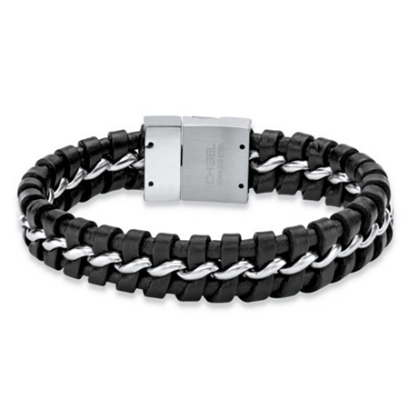 Men's Woven Black Leather Braided Bracelet with Magnetic Closure in Stainless Steel 9