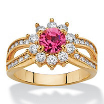 1.08 TCW Round Rose Crystal and Cubic Zirconia Halo Cocktail Ring 14k Gold-Plated