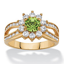 1.08 TCW Round Peridot Green Crystal and White Cubic Zirconia 14k Gold-Plated Halo Cocktail Ring