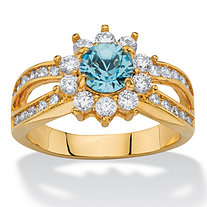 1.08 TCW Round Aquamarine Blue Crystal and White Cubic Zirconia 14k Gold-Plated Halo Cocktail Ring
