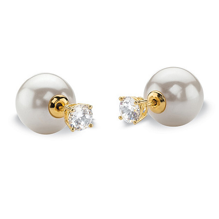 1 TCW Round Cubic Zirconia and White Simulated Pearl Reversible Front-Back Ball Stud Earring 14k Gold-Plated at PalmBeach Jewelry