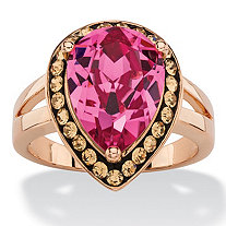 SETA JEWELRY Pear-Cut Rose and Smoky Crystal Halo Cocktail Ring MADE WITH SWAROVSKI ELEMENTS Rose Gold-Plated