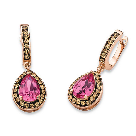 Pear-Cut Rose and Smoky Crystal Halo Drop Earrings MADE WITH SWAROVSKI ELEMENTS Rose Gold-Plated at PalmBeach Jewelry