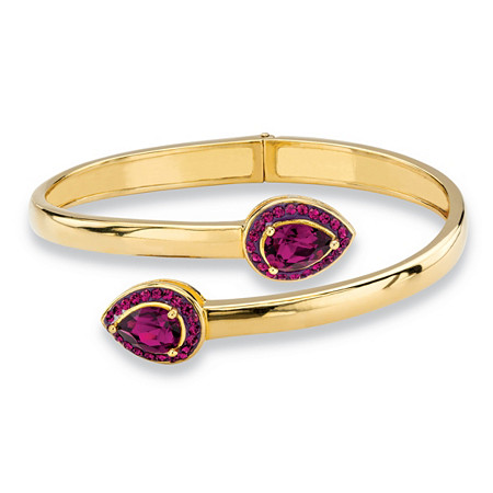 Pear-Cut Simulated Purple Amethyst Halo Bangle Bracelet MADE WITH SWAROVSKI ELEMENTS 14k Gold-Plated at PalmBeach Jewelry