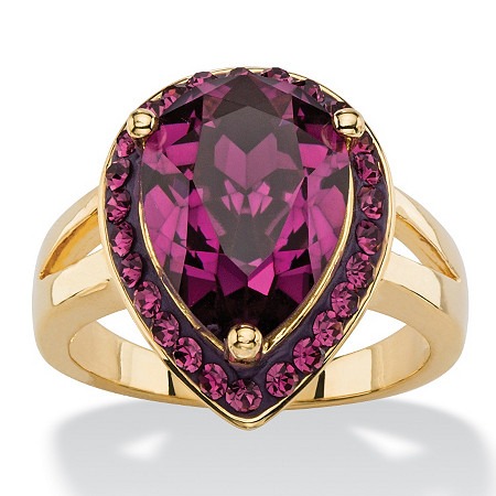 Pear-Cut Simulated Purple Amethyst Cocktail Ring MADE WITH SWAROVSKI ELEMENTS 14k Gold-Plated at PalmBeach Jewelry