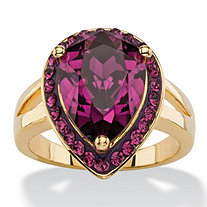 SETA JEWELRY Pear-Cut Simulated Purple Amethyst Cocktail Ring MADE WITH SWAROVSKI ELEMENTS 14k Gold-Plated