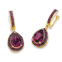 Pear-Cut Simulated Purple Amethyst Halo Drop Earrings MADE WITH SWAROVSKI ELEMENTS 14k Gold-Plated