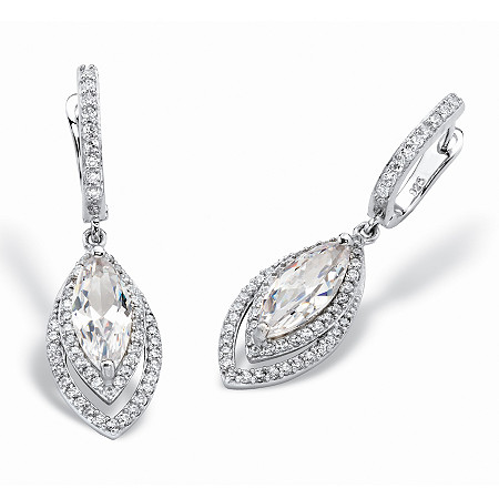 6.36 TCW Marquise-Cut and Pave Cubic Zirconia Double Halo Drop Earrings with Omega Backs in Silvertone 1.5