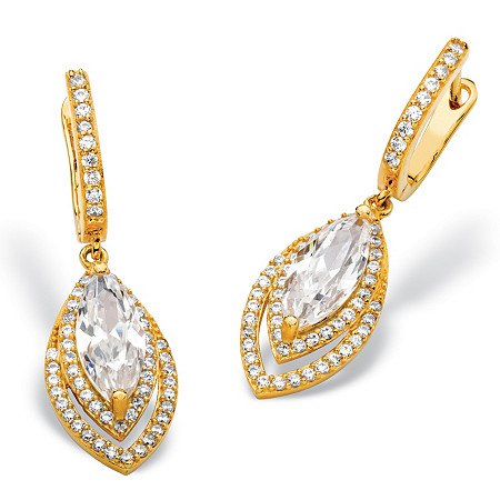 6.36 TCW Marquise-Cut and Pave Cubic Zirconia Double Halo Drop Earrings with Omega Backs 14k Gold-Plated 1.5