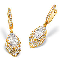 6.36 TCW Marquise-Cut and Pave Cubic Zirconia Double Halo Drop Earrings with Omega Backs 14k Gold-Plated 1.5""