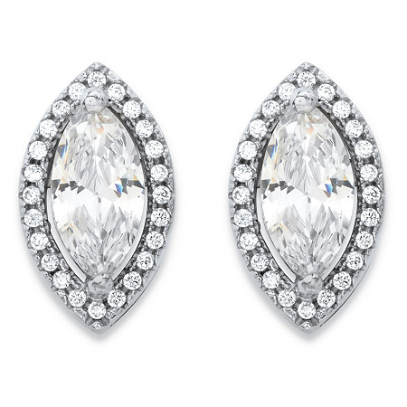 2.32 TCW Marquise-Cut and Round White Cubic Zirconia Halo Stud Earrings in Silvertone at PalmBeach Jewelry