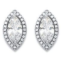 2.32 TCW Marquise-Cut and Round White Cubic Zirconia Halo Stud Earrings in Silvertone