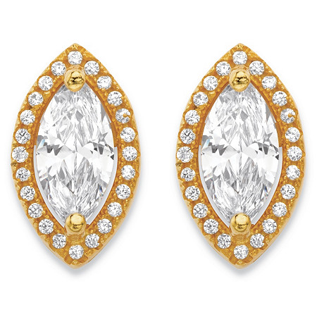 2.32 TCW Marquise-Cut and Round White Cubic Zirconia Halo Stud Earrings 14k Gold-Plated at PalmBeach Jewelry