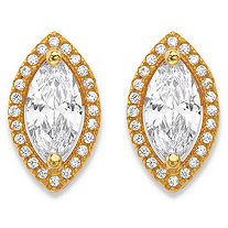 2.32 TCW Marquise-Cut and Round White Cubic Zirconia Halo Stud Earrings 14k Gold-Plated