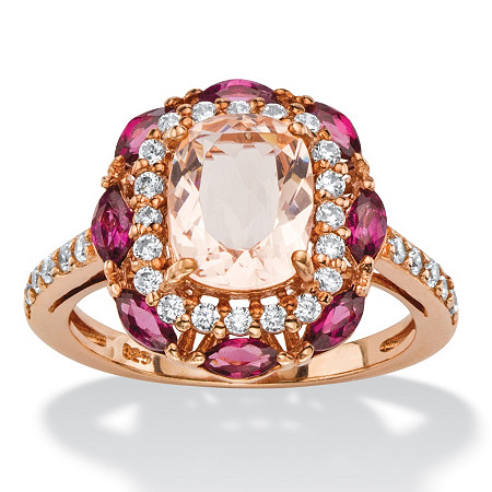 1.01 TCW Cushion-Cut Peach Glass, Rose Rhodolite and CZ Scalloped Halo Cocktail Ring in Rose Gold-Plated Sterling Silver at PalmBeach Jewelry