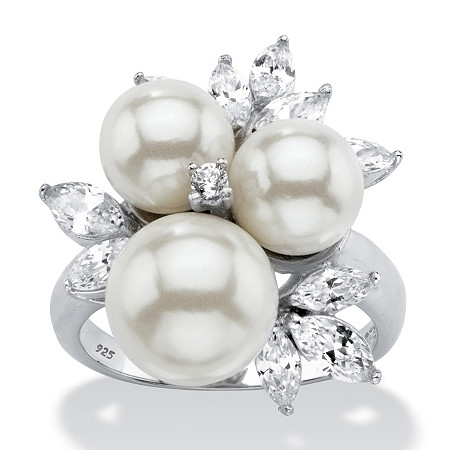 1.84 TCW Round Simulated Pearl and Cubic Zirconia Cluster Ring in Platinum over Sterling Silver at PalmBeach Jewelry