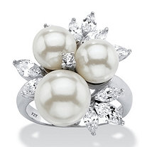 1.84 TCW Round Simulated Pearl and Cubic Zirconia Cluster Ring in Platinum over Sterling Silver