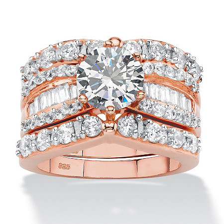 4.07 TCW Round and Baguette Cubic Zirconia 3-Piece Multi-Row Bridal Ring Set in Rose Gold-Plated Sterling Silver at PalmBeach Jewelry