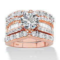 4.07 TCW Round and Baguette Cubic Zirconia 3-Piece Multi-Row Bridal Ring Set in Rose Gold-Plated Sterling Silver