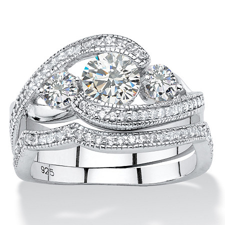 1.90 TCW Round Cubic Zirconia 2-Piece Bypass Bridal Ring Set in Platinum over Sterling Silver at PalmBeach Jewelry