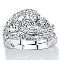 1.90 TCW Round Cubic Zirconia 2-Piece Bypass Bridal Ring Set in Platinum over Sterling Silver