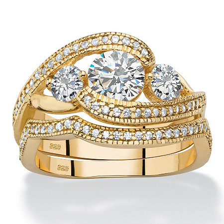 1.90 TCW Round Cubic Zirconia 2-Piece Bypass Bridal Ring Set in 14k Gold over Sterling Silver at PalmBeach Jewelry